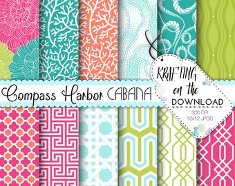 Beach Resort Digital Paper Pack Bright Summer Pool Scrapbooking Papers Pink and Coral, Lime Green, Turquoise Aqua, Cabana Instant Download