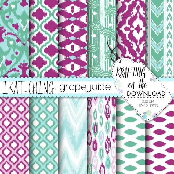 Purple Teal Digital Paper Pack ikat background design scrapbooking papers purple mint teal tiffany aqua turquoise boho chic instant download