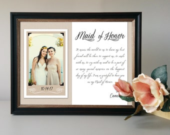 Maid of Honor Gift, Matron of Honor Thank You, Personalized Bridesmaid Picture Frame, Custom Wedding Gift