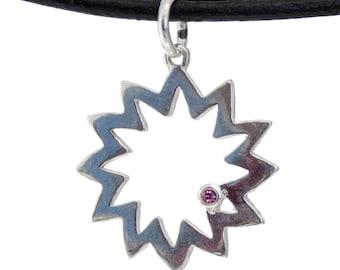 Sterling Silver Sun Necklace Pendant with Semi-precious Stone SKY024