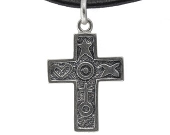 Elegant Sterling Silver Colonial Cross necklace, Mother's Day gift ideas for her mom daughter sister wife RLG021