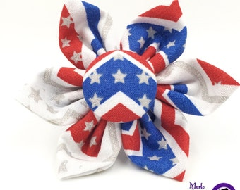 Stars and Stripes Flower / Patriotic Dog Collar Flower / Patriotic Fabric Flower / Dog Flower / Patriotic Dog Bow / Red / White / Blue