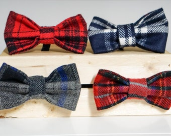 Winter Flannel Plaid Bow Ties/ Dog Collar Accessory