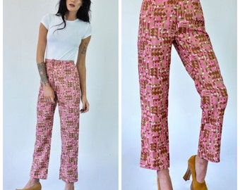 SALE Vintage 60s 70s graphic GEOMETRIC print psychedelic PINK high waisted cigarette trousers kick flare suit pants hippie boho hipster