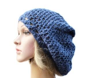 Women Hat Crochet Hat Slouchy Beanie Spring Hat Summer Hat Crochet beret  Women Accessories Girlfriend Gift for Women blue