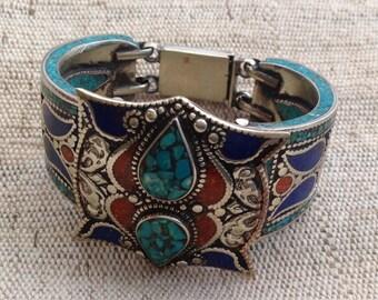 Vintage Turquoise Coral Lapis Lazuli  MultiStone Cuff Bracelet