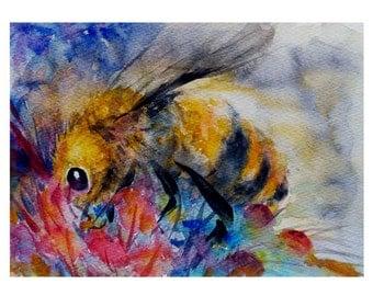 Whimsical Painting Bee painting Watercolor honey bee art Original painting  5.5x7