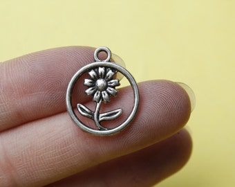 Flower charms antique silver tone  16mm silver sunflower charm pendant jewelry making