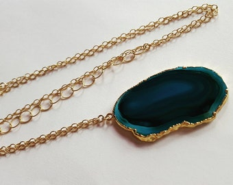 Teal Agate Pendant Necklace