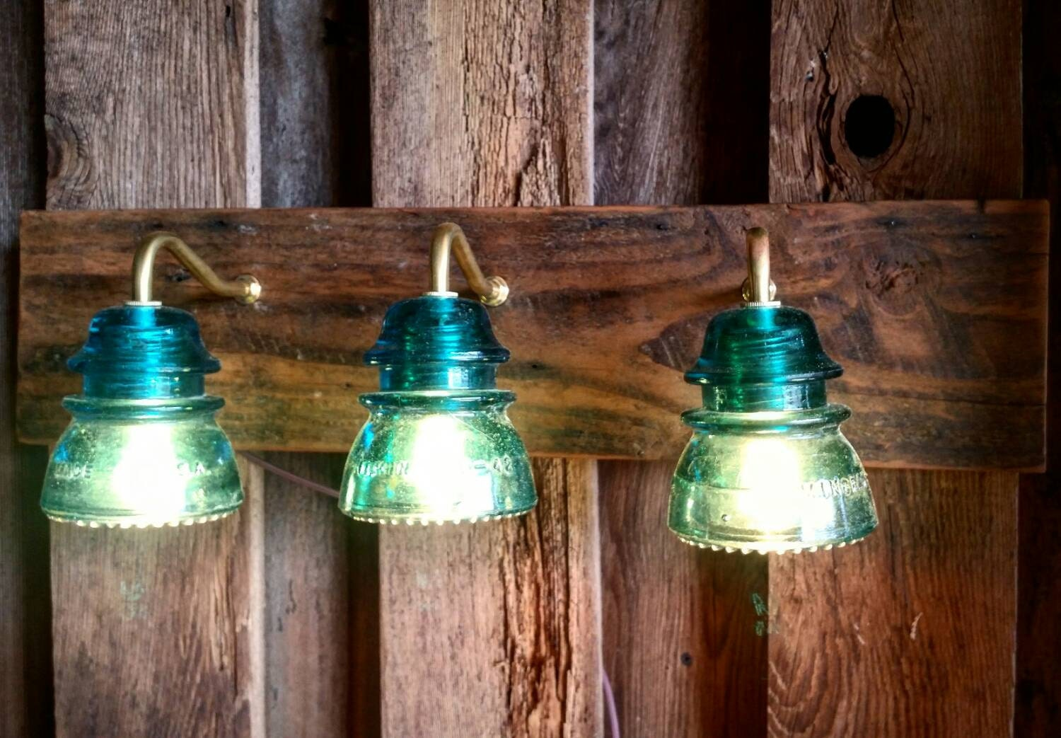 24 Vintage Insulator 3 Light Vanity Reclaimed Wood