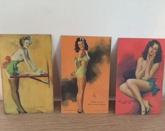 3 Vintage Vargas Pin-up Cards