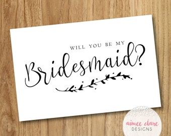Will You Be My Bridesmaid Calligraphy Card