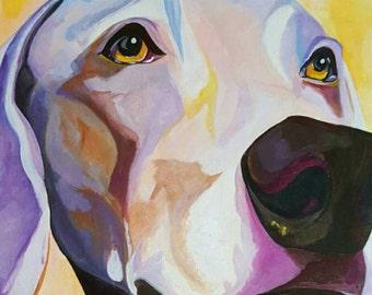 11x14 Custom Pet Portrait, Custom acrylic Weimaraner art, Dog Portrait, Memorial Gift, For the Love of Dogs, Dog Art, Cat Art, Animal Art