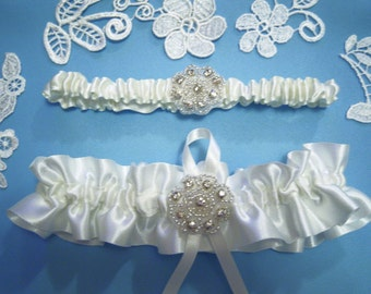 Ivory wedding garter bridal garter set of 2 satin and rhinestones