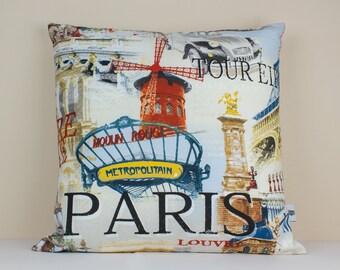 Paris cushion cover  - Decorative Cushion Case -Linen Pillow Cover - Linen Home Decor - French Cushion - Paris Pillow - French Linen Cushion