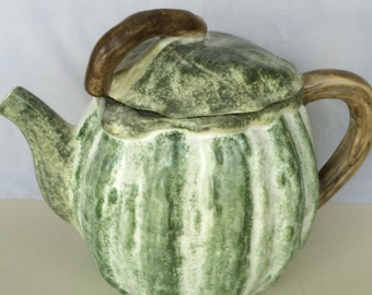 Green and White Colored Vegetable Gourd Squash Ceramic Teapot