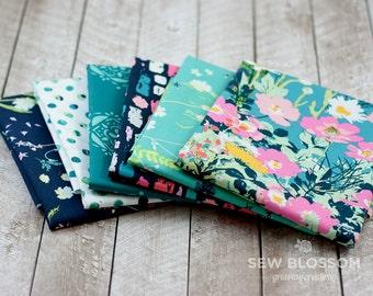 LAVISH TEAL Fabric BUNDLE - Collection of Teal & Navy - Art Gallery Fabrics