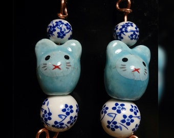 Mouse dangle fish hook earrings/ Ceramic bead earring/ dangle earring