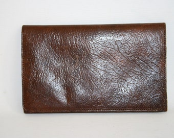 Real Vintage Woman's Man Wallet Dark Brown 100% Natural Leather Photo Bifold