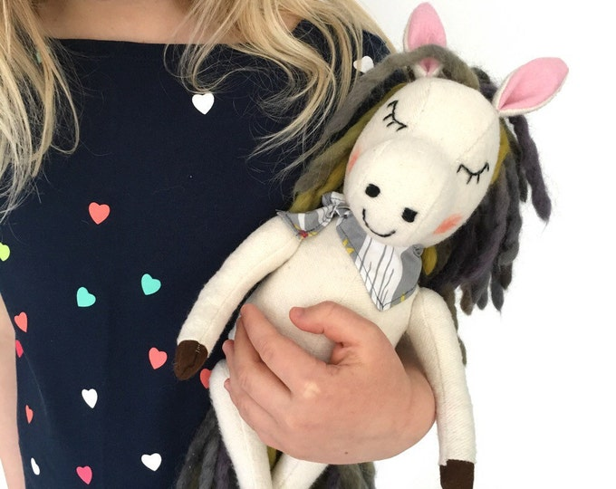 Organic fleece pony, waldorf inspired, stuffed horse, kawaii stuffed animal, handmade ecofriendly toys, plush horse, pretend play