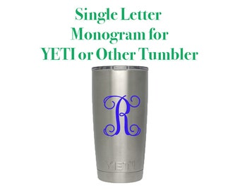 Yeti Vine Letter Monogram Decal - DIY Vinyl Decal for Yeti - Custom Monogram Decal for 20oz or 30oz Yeti Rambler Cup - Letter Yeti Cup Decal