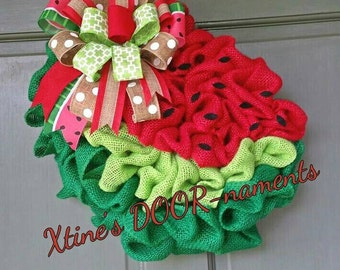 Burlap Watermelon Wreath, Watermelon Wreath, Summer Door Decor, Summer Wreath
