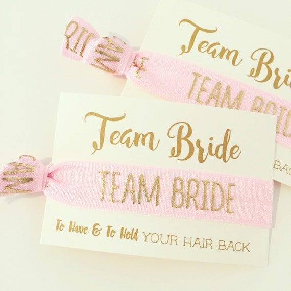 Hair Tie Bachelorette Party Favor | Team Bride Hair Ties, Light Pink + Gold Hair Ties, Light Pink Blush Rose Gold Bridesmaid Hair Tie Gift