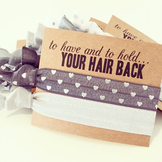 Charcoal Grey Hair Tie Bridal Shower Favor | Gray + Silver Heart Hair Tie Favor, Wedding Bridal Shower Bachelorette Bridesmaid Gift Hair Tie