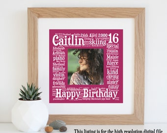 Personalised 16th BIRTHDAY GIFT - Word Art - 16th Birthday - Printable Art - 16th Birthday Card - Bespoke Gifts - 16th - Gift for Daughter
