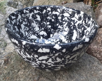 Vintage Porcelain Bowl - Black & White