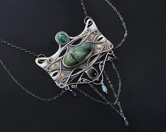 Dragon scale - Art Nouveau silver necklace