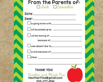 Teacher Notes, Personalized School Notepad for parents, from the parents of, Check box notepad school, green chevron, Excuse Pad School