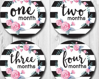Monthly Baby Stickers, Black and White Stripes, Floral Month Stickers, Months 1-12, Baby Milestone Stickers, Preppy Stickers for baby