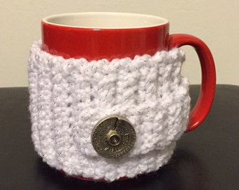 White Mug Sweater, white mug cozy, Crocheted Coffee mug Cozy, Crocheted Mug Sweater,  Crocheted Mug Sleeve, Mug insulator, crochet insulator