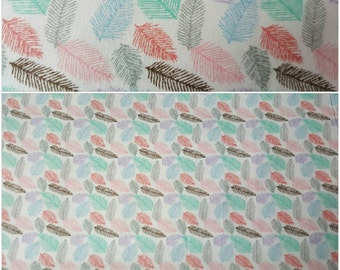 """NEW 100% Cotton - white and multi coloured feather fabric price per meter - 44"""" wide"""