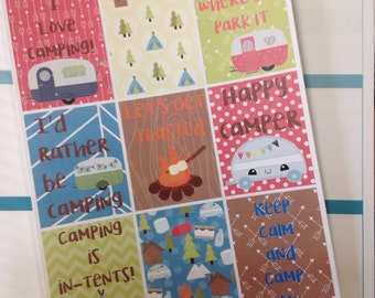 Camping Weekly Square Planner Stickers