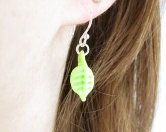 Small Glass Leaf Earrings - Light Green Opaque - Handmade - Delicate