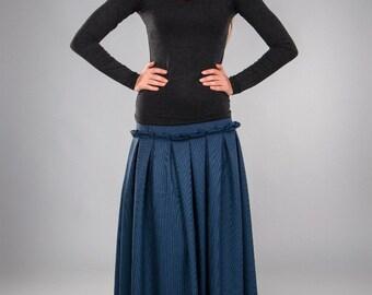 Jersey Wool Maxi Skirt.Winter Long Flared Pleated  Skirt Blue.