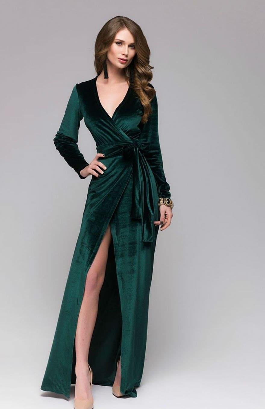 Beautiful Emerald Green Velvet DressWrap Dress FormalSexy