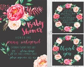 SET** Watercolour Floral Baby Shower Invitation, Book Note & Thank You Card Set - Personalised - Printable - Digital File - Chalk Design