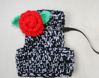 Crochet DOG harness, Pets Harness, Small dog harness with back ring