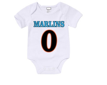 Custom Marlins Onesies / T shirts with custom name and number/Baby Announcement/Baby Shower/ Baby gift/Birthday Shirt/Fan wear/Babywear