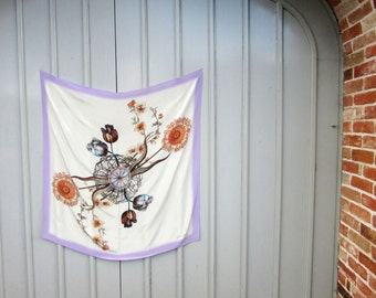 """Illustrated Silk Scarf- """"PERIPHYLLA"""" square, digital print Wallhanging or scarf"""