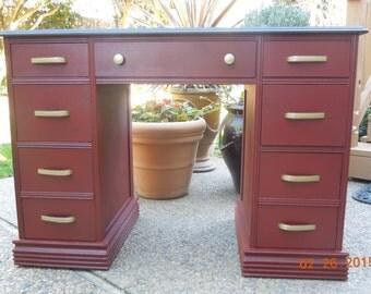 Desk~ vintage repainted Tuscan Red