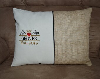 Personalized Wedding or Anniversary Date Pillow
