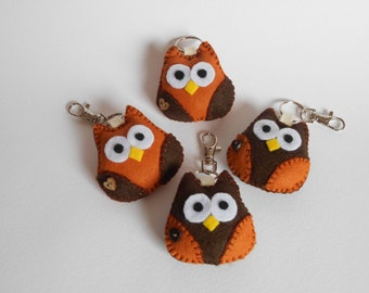 Felt owl keyfobs/bag charms