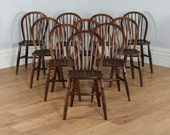 Antique Set of 10 English Ash  Elm Hoop  Stick  Spindle Back Kitchen Dining Chairs (Circa 1900)