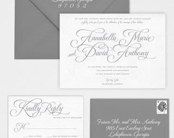 Wedding Invitation - Calligraphy Wedding Invitation - Annabella Wedding Invitation