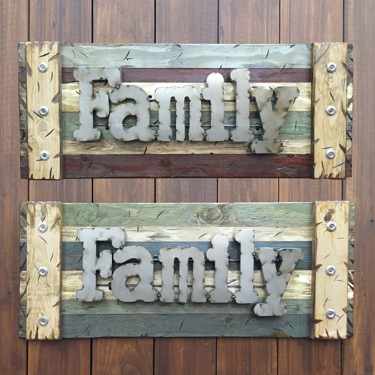 Large Wooden Signs Home Decor: FAMILY Rustic Sign Reclaimed Distressed Industrial Navy