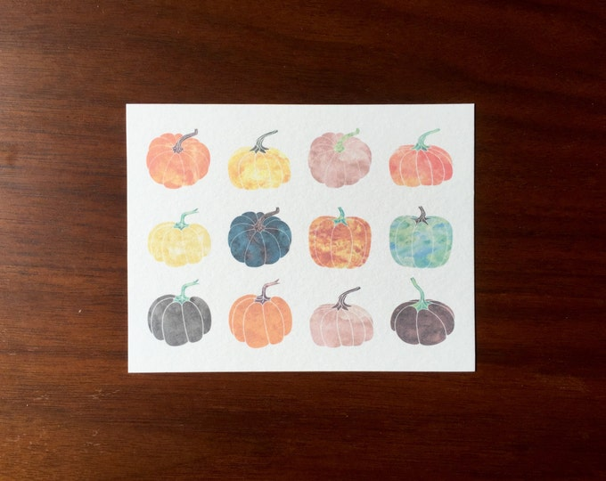 Pumpkins Postcards Watercolor multipack post cards letter card mailing postal holiday travel notecard notes logo free thanksgiving